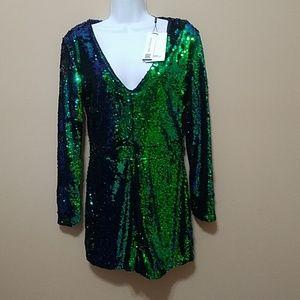Mermaid Green blue flip sequin romper club